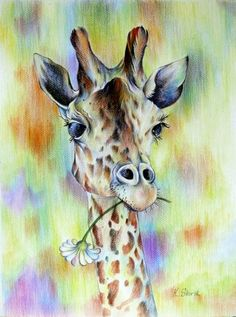 .giraffe & flower watercolour                                                                                                                                                     More
