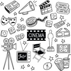 Find Cinema Movie Object Doodles stock images in HD and millions of other royalty-free stock photos, illustrations and vectors in the Shutterstock collection. Bullet Journal Writing, Bullet Journal Inspiration, Book Journal, Bullet Journal Vectors, Image Cinema, 3d Cinema, Movie Bullet, Kino Box, T-shirt Broderie