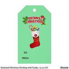 Animated Christmas Stocking with Candy Cane Pack Of Gift Tags