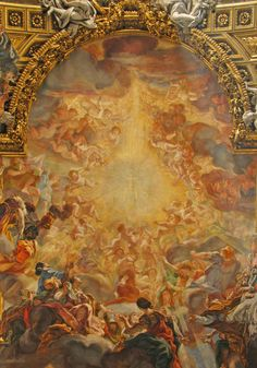 """The Holy Name of Jesus frescoe. Giovanni Battista Gaulli, known as """"Il Baciccia,"""" painted most of Il Gesù's ceiling frescoes between 1672-1685."""