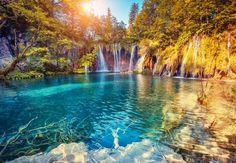 Beautiful turqoise water at Plitvice Lakes National Park in Croatia