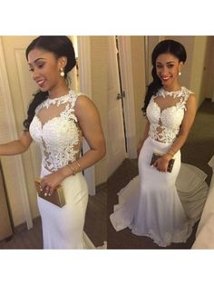 White Mermaid Sleeveless 2017 Prom Dress With Lace Applique