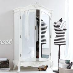 Kleiderschrank mit Spiegel, Barock-Stil, Kleiderstange, MDF, Tannenholz