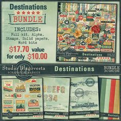 Destinations: BUNDLE by Studio Blagovesta 44% off  at Scrapbookgraphics.  Also available in separate packs at 20% off each