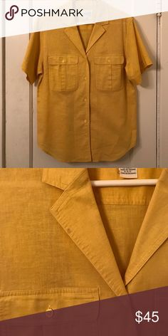 Vintage Christian Dior button up Super cool yellow vintage Christian Dior button up. Has a teeny tiny spot that you can barely see shown in the second picture Christian Dior Tops Button Down Shirts