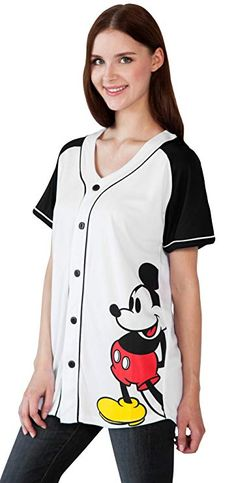 Disney Mickey Mouse Woman s Jersey Shirt Button Down Front Print Back 28  (Small) d94cb57fc