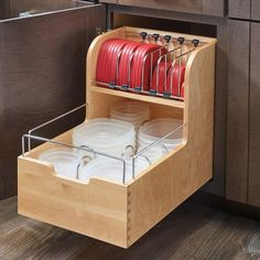 Create efficient kitchen storage by choosing this excellent Rev-A-Shelf Wood Food Storage Container Organizer for Base Cabinets. Kitchen Cabinet Organization, Rev A Shelf, Food Storage Containers Organization, Kitchen Storage Organization, Kitchen Organization, Base Cabinets, Storage, Diy Kitchen, Kitchen Drawers