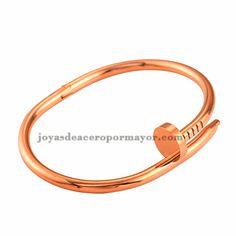 pulsera de clavo en oro rosado para mujer