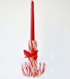 Super Easy DIY Christmas Decor Ideas - Candy Cane Candlestick - Click Pic for 25 Christmas Craft Ideas