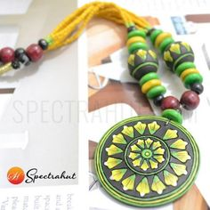Terracotta Jewellery terracotta jewelry necklace set - Yellow and Green