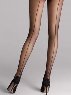 Shop the latest in designer hosiery with the Individual 10 Back Seam Tights from Wolford. An elegant, matte transparent tight with alluring knitted seam running from waistband to toe. Pantyhose Heels, Stockings Heels, Black Stockings, Wolford Stockings, Pantyhose Outfits, Black Pantyhose, Stockings Lingerie, Wolford Tights, Sheer Tights