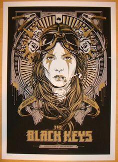 "The Black Keys - silkscreen concert poster (click image for more detail) Artist: Ken Taylor Venue: Sidney Myer Music Bowl Location: Melbourne, Australia Concert Date: 10/31/2012 Size: 18"" x 24"" Editio"