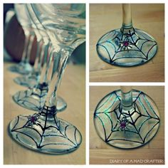 DIY painted spiderweb wine glasses! Dollar store glasses, glass paint with spider charms
