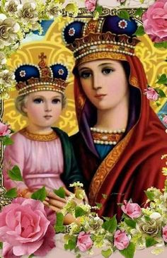 Divine Mother, Blessed Mother Mary, Blessed Virgin Mary, Religious Pictures, Religious Icons, Religious Art, Jesus And Mary Pictures, Mary And Jesus, Holly Pictures