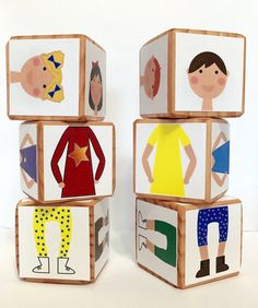 Children can mix & match this set of 6 blocks to make countless people combinations. Each block has 6 images for a total of: 12 faces boy & Doll Crafts, Paper Crafts, Family Day Care, Operation Christmas Child, Kids Church, Preschool Art, Sensory Activities, Kids Boxing, Wood Toys