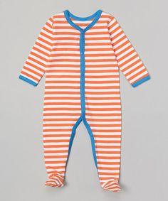 Another great find on #zulily! Blue & Orange Stripe Organic Footie - Infant by Kimki Organics by Sage Creek Organics #zulilyfinds