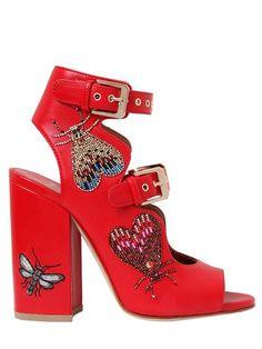 LAURENCE DACADE 90MM NELEN EDEN BEADED LEATHER SANDALS, RED. #laurencedacade #shoes #sandals