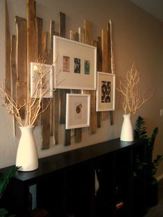 Reclaimed wood frame mat (could take apart pallets and use them) Not sure if I like the boards horizontal or vertical. Pallet Wall Art, Pallet Walls, Wood Wall, Reclaimed Wood Frames, Pallet Crafts, Diy Pallet, Rustic Decor, Wood Projects, Diy Home Decor