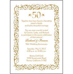 wedding invitations  for a 50th wedding anniversary | 25 Personalized 50th Wedding Anniversary Party Invitations - AP-008