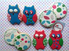 Owls Cookies with rice paper images. Cookieria By Margaret, Biscoito decorado, Bolacha Decorada