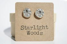 Stud wood Earrings Spring fashion black floral by starlightwoods, $22.50