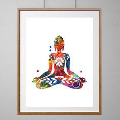 Sitting Buddha Art print, yoga illustration poster, buddhist spiritual wall art…