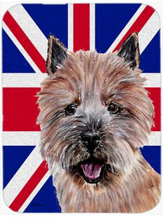 Norwich Terrier with English Union Jack British Flag Mouse Pad - Hot Pad or Trivet SC9877MP #artwork #artworks