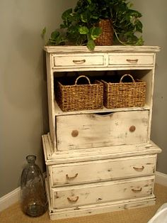 This is a ready-made piece, but how cool would it be to use two odd chests, side tables you already have to make one unique piece?
