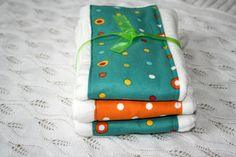 Baby Burp Cloths Set of 3 aqua dots orange and yellow by mypoplin, $14.00