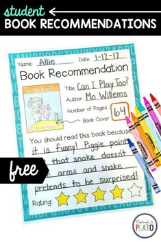 Student book recommendations are a great way to get kids talking about the stories they read. Whether you're working on an author study, need a book-themed bulletin board idea, or just want kids to reflect on books, this sheet is sure to do the trick! This makes a great listening center activity as well! Perfect for kindergarten and first grade kids. Kindergarten Writing Activities, Teaching Strategies, Mo Willems, Author Studies, Primary Classroom, Activity Centers, First Grade, Book Recommendations, Good Books