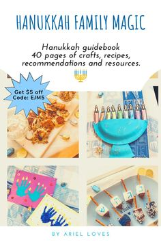Hanukkah guidebook: 40 pages of crafts, recipes, recommendations and resources. Perfect for kiddos 2-6 years. Use code: EJM5 for $5 off #jewishpreschool #hanukkahactivities #hanukkah Hanukkah Music, Hanukkah Crafts, Hanukkah Food, Hanukkah Decorations, Hannukah, Holiday Crafts, Jewish Festival Of Lights, Jewish Festivals, Festival Lights