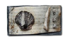 Judy McCaig Brooch: Petrified Ice Steel, silver, shell, feather, cristal, perspex, wood, paint