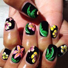 thisisvenice #nail #nails #nailart plumeria flower, tropical, plant, leaf, palm, beach black yellow pink green white
