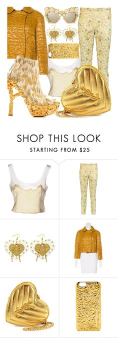 """""""Chic Golden L👀k"""" by sanya-styleup ❤ liked on Polyvore featuring Prada, Rochas, D&G, Yves Saint Laurent, Alexander McQueen and Marc by Marc Jacobs"""