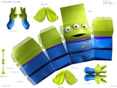 Toy Story - Little Green Alien Paper Toy - by Disney Family Toy Story 3d, Alien Do Toy Story, Toy Story Game, Toy Story Crafts, Toy Story Party, Disney Paper Dolls, Disney Toys, Paper Toys, Paper Crafts