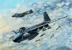 """""""""""Grumman Intruder"""" by Vlastimil Suchy The Grumman Intruder is an American, twinjet all-weather attack aircraft built by Grumman Aerospace. Military Jets, Military Aircraft, Modern Fighter Jets, Aircraft Painting, Airplane Art, Navy Aircraft, Aircraft Pictures, Aviation Art, Fighter Aircraft"""