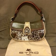 "Etro Milano Handbag Etro Milano handbag in very good condition. Leather & pony skin. Slight wear on the back side and faint pen mark on inside as pictured. Approximately 12.5"" wide by 7.5"" tall. Comes with dust bag. Etro Bags Shoulder Bags"