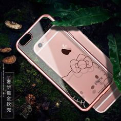 Luxury Plating Cute Cartoon bear Daisy Hello Kitty Mickey Minnie Mouse Soft TPU Clear Case Cover for iphone 6 6s 6 Plus 4.7 5.5