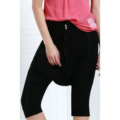 Drawstring Cropped Harem Pants — 10.49 € ------------------------Size: XL Color: BLACK