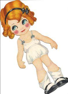 Bonecas de Papel: Little Tots Retro-valentines Free freebie retro printable paper doll