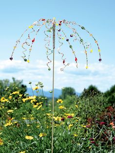 Garden Art Stake: Glass Beads on Swaying Strings | Gardeners.com