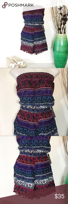 NEW Aztec Rich Colors Romper Playsuit Strapless NEW Aztec Rich Colors Romper Playsuit Strapless. Very comfortable. Great for warm weather. new with tags. J for Justify Pants Jumpsuits & Rompers
