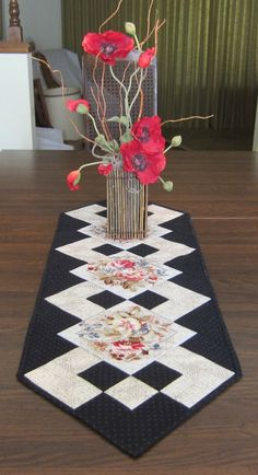 Black and White Table Runner with Flowers