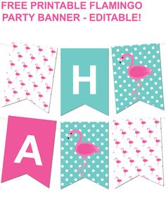 Free Printable Flamingo Pennant Banner from printablepartydecor.com - type in your own text to make whatever banner you'd like!