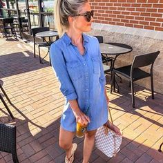 Errand running outfit but I usually don't do flip flops bc they really aren't good for your feet Summer Dress Outfits, Mom Outfits, Spring Outfits, Casual Outfits, Crazy Outfits, Girly Outfits, Short Outfits, Everyday Outfits, Chambray Dress Outfit