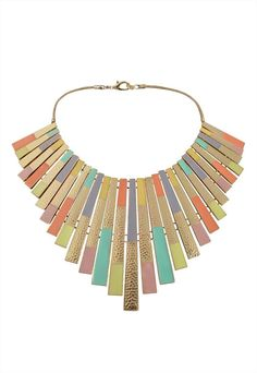 Gold necklace with hints of pastel