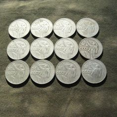 This listing is for a set of Soviet rubble coins, all from 1967. The coin was dedicated to a 50 years of Soviet governance.  The diameter of each coin