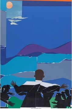 Artwork by Romare Bearden, Martin Luther King, Jr. - Mountain Top, Made of color screenprint African American Artist, African Art, American Artists, Modern Art, Contemporary Art, Romare Bearden, Collage Artists, Black Artists, King Jr