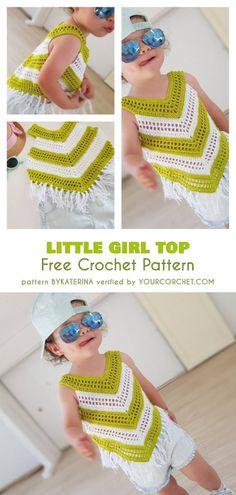 Crochet Top Patterns Little Girl Summer Top Free Crochet Pattern Poncho Au Crochet, Beau Crochet, Crochet Baby Blanket Beginner, Pull Crochet, Baby Girl Crochet, Crochet Baby Booties, Free Crochet, Free Knitting, Crochet Toddler Dress