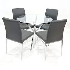 4b7074ed4356 Febland 90cm Round Glass Criss Cross Table with Four Alberta Dining Chairs